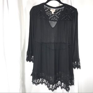 Pretty Black Rayon Tunic with Crochet Accents